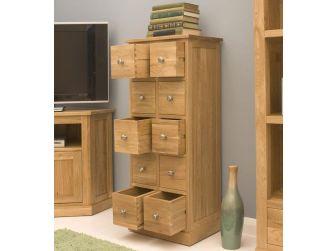 Oak Multi Drawer Shelf Dvd / Cd Storage COR17C