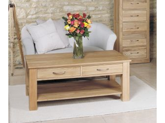Large Dark Coffee Table With 4 Drawers COR08D