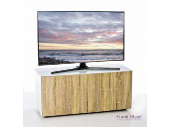 Frank Olsen Intelligent Design Furniture TV Cabinet - White Gloss with Oak Effect Doors