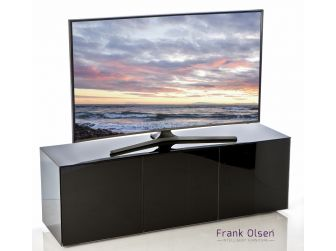 Frank Olsen Intelligent Design Furniture TV Cabinet - Black Gloss with Black Glass Doors