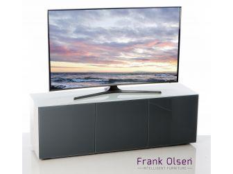 Frank Olsen Intelligent Design Furniture TV Cabinet - White Gloss with Grey Glass Doors