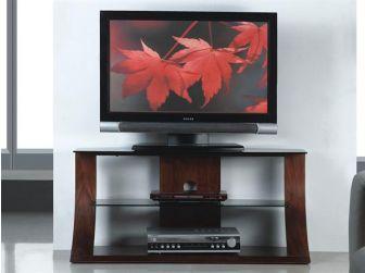 JF201 1100 Curved Wood TV Stand Walnut