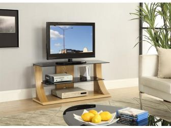JF201 1100 Curved Wood TV Stand Oak