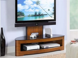 JF209 Curved Real Wood Cantilever TV Stand Walnut