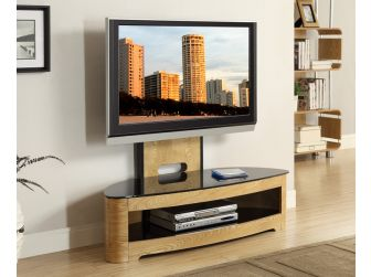 JF209 Curved Real Wood Cantilever TV Stand Oak
