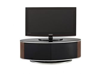 Walnut and Gloss Black Oval Swivel TV Cabinet Luna