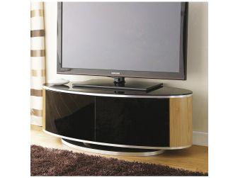 Oak and Gloss Black Oval Swivel TV Cabinet Luna AV