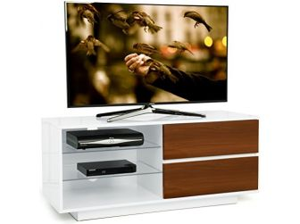 Gloss White and Walnut TV Cabinet Gallus
