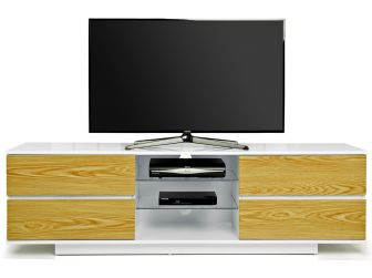 Gloss White and Oak Large TV Cabinet Avitus