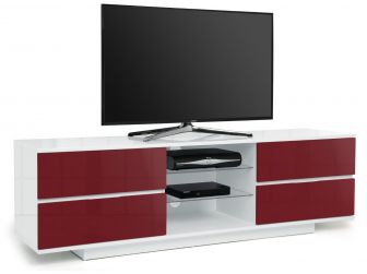 Gloss White and Midnight Red Large TV Cabinet Avitus
