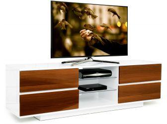 Gloss White and Walnut Large TV Cabinet Avitus