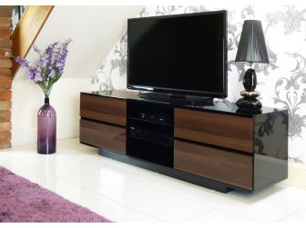 Gloss Black and Walnut TV Cabinet Avitus