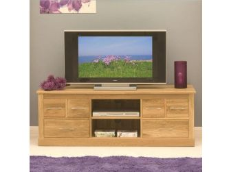 Oak Wide Tv Cabinet With Drawers COR09B