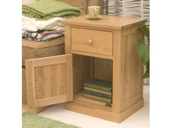 Oak One Door One Drawer Lamp Stand COR10C