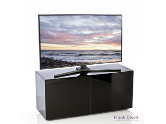 Frank Olsen Intelligent Design Furniture TV Cabinet - Black Gloss with Black Glass Doors