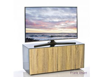 Frank Olsen Intelligent Design Furniture TV Cabinet - Grey Gloss with Oak Effect Doors