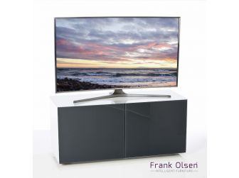 Frank Olsen Intelligent Design Furniture TV Cabinet - White Gloss with Grey Glass Doors