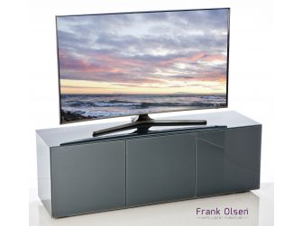 Frank Olsen Intelligent Design Furniture TV Cabinet - Grey Gloss with Grey Glass Doors
