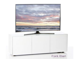 Frank Olsen Intelligent Design Furniture TV Cabinet - White Gloss with White Glass Doors