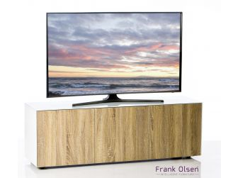 Frank Olsen Intelligent Design Furniture TV Cabinet - White Gloss with Oak Effect Doors