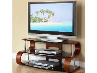 JF203 1100 Curved Wood TV Stand Walnut