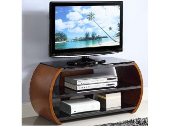 JF208 Curved Real Wood TV Stand Walnut