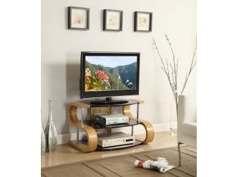 JF203 850 Curved Wood TV Stand Oak