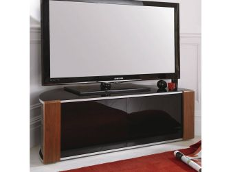 Walnut or Oak with Gloss Black Corner TV Cabinet Sirius 1200