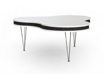Black / White Clover Shaped Coffee Table COF-CLOVER-B