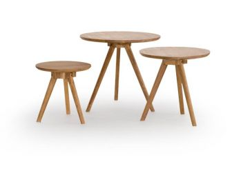 Set Of 3 Oiled Oak Round Tables COF-YSTAD-O