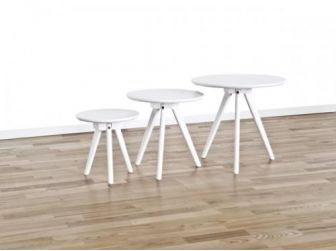 Set Of 3 White Round Tables COF-YSTAD-W