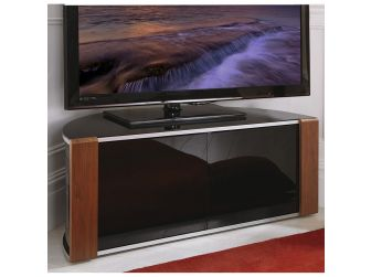Walnut or Oak with Gloss Black Corner TV Cabinet Sirius 850